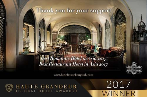 HOTEL MUSE BANGKOK WINS 2 HAUTE GRANDEUR GLOBAL HOTEL AWARDS 2017
